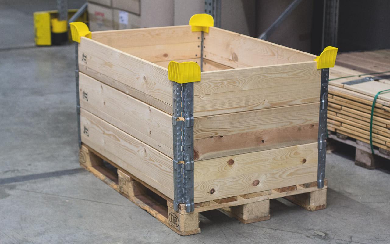 Stapelecken für Holzaufsatrahmen.