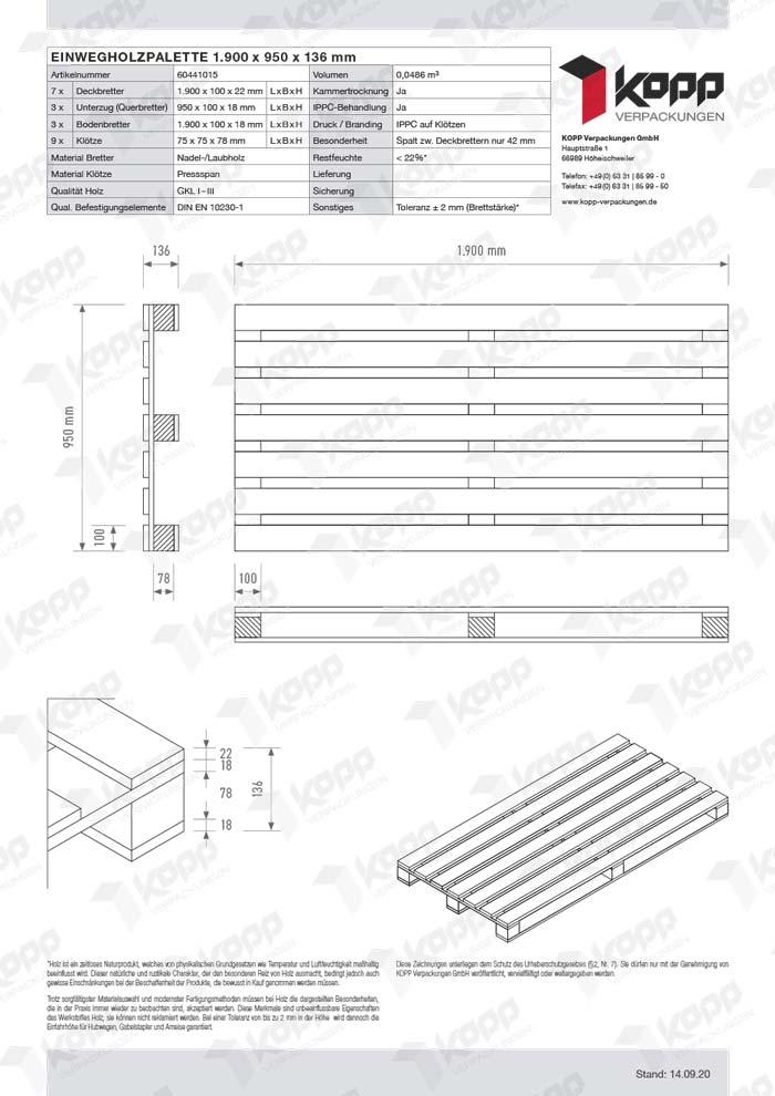 Datenblatt Paletten Kopp Verpackungen GmbH | 1.900 x 950 x 136 mm