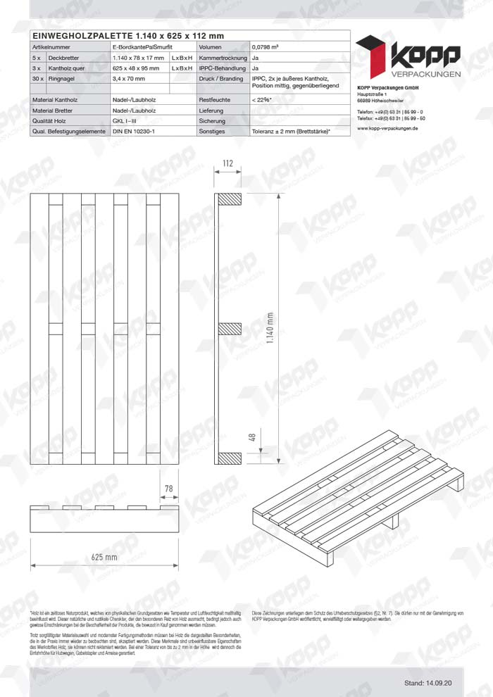 Datenblatt Paletten Kopp Verpackungen GmbH | 1.140 x 625 x 112 mm