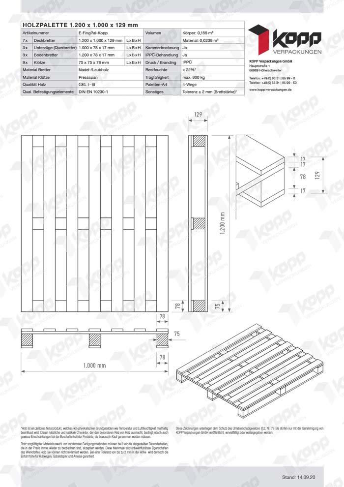 Datenblatt Paletten Kopp Verpackungen GmbH | 1.200 x 100 x 129 mm