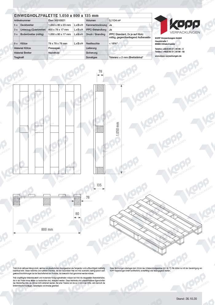 Datenblatt Paletten Kopp Verpackungen GmbH | 1.050 x 800 x 135 mm