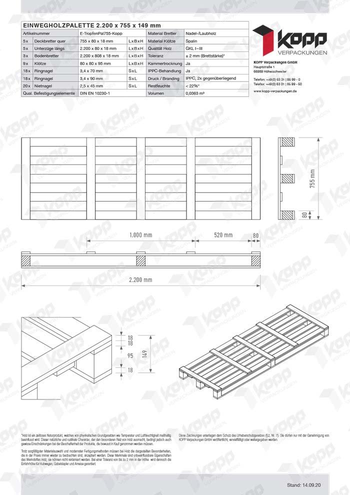 Datenblatt Paletten Kopp Verpackungen GmbH | 2.200 x 755 x 149 mm