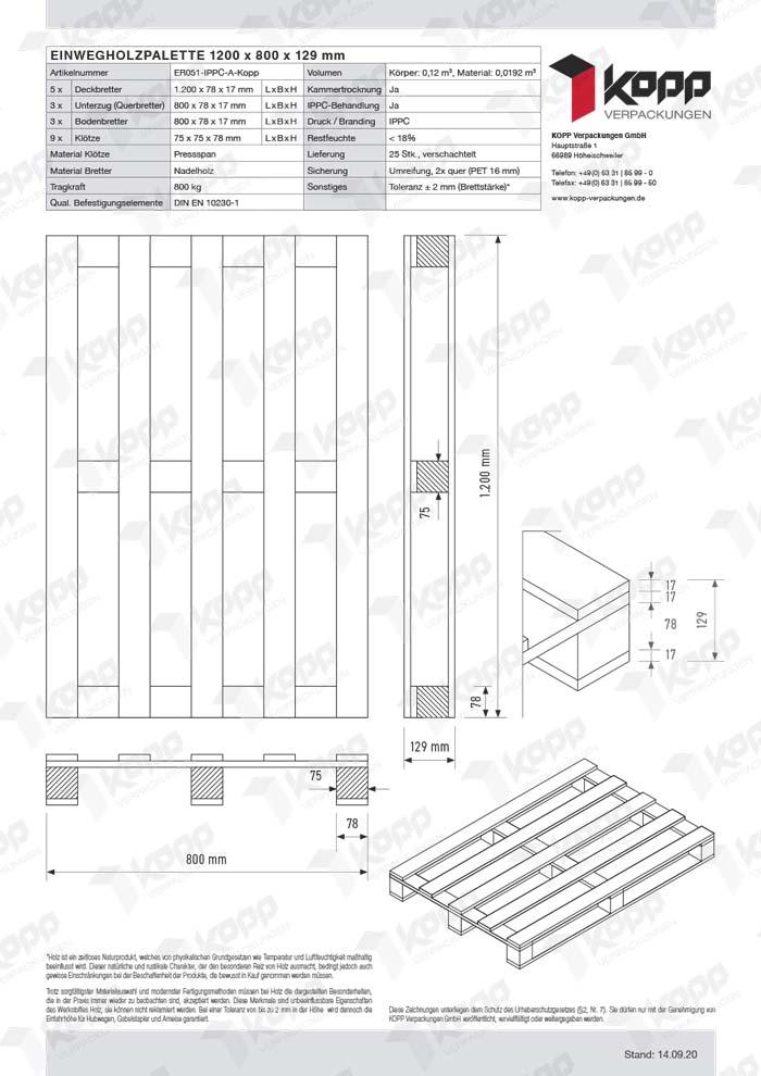 Datenblatt Paletten Kopp Verpackungen GmbH | 1.200 x 800 x 129 mm