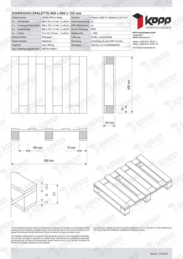 Datenblatt Paletten Kopp Verpackungen GmbH | 800 x 600 x 131 mm