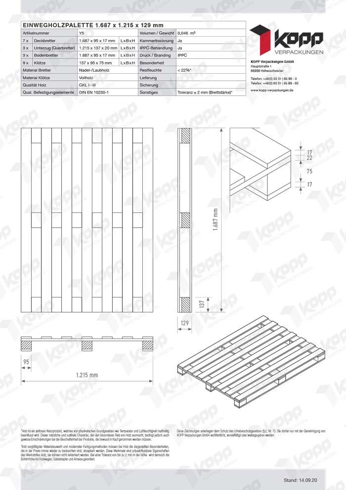 Datenblatt Paletten Kopp Verpackungen GmbH | Y5 1687x1215x129mm