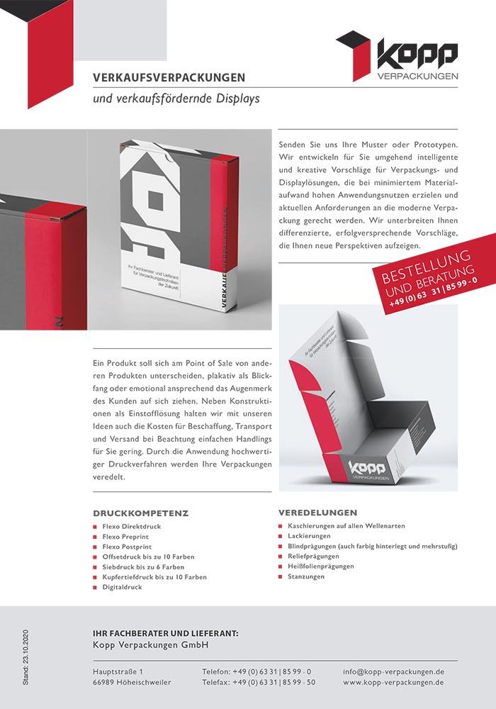Verkaufsverpackungen und verkaufsfördernde Displays