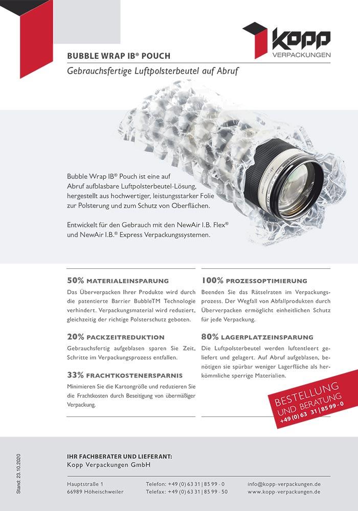 Bubble Wrap IB Pouch, Gebrauchsfertige Luftpolsterfolien auf Abruf