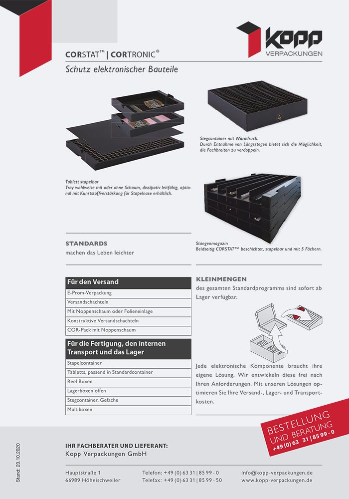 ESD-Verpackungen, CORSTAT/CORTRONIC