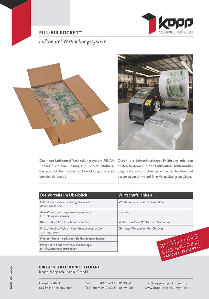 Luftbeutelverpackungssystem, Fill-Air Rocket