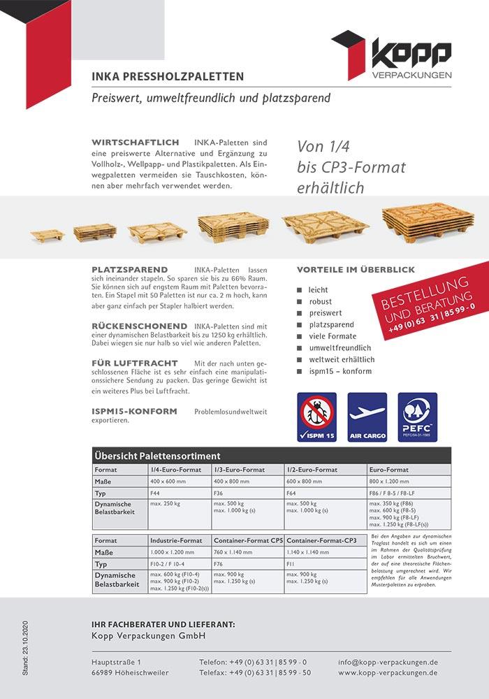 INKA Paletten, stapelfähige Pressholzpaletten in 7 Formaten