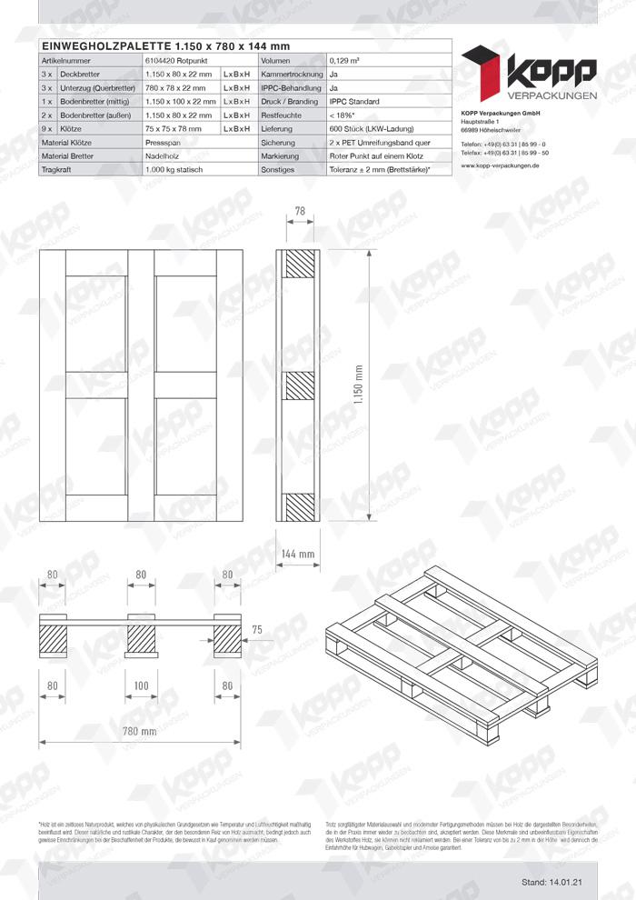 Datenblatt Paletten Kopp Verpackungen GmbH | 6104420 Rotpunkt 1150x780